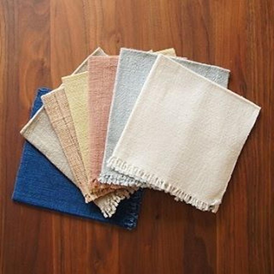 ラオス オーガニックコットンハンカチ<手紡ぎ・手織り・草木染め>