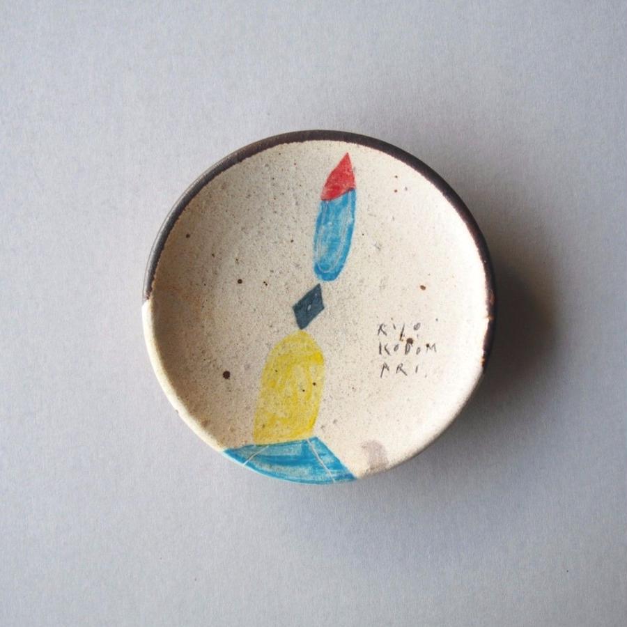 小泊 良 白釉色絵円皿