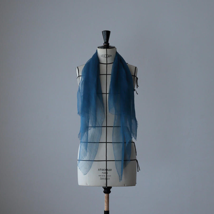 麻の正藍染ストール 紺色 (小)