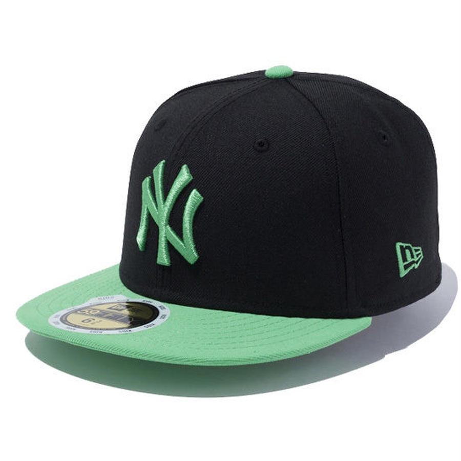【 NEW ERA / ニューエラ 】KIDS 59FIFTY ニューヨーク・ヤンキース /ブラック×アイランドグリーン グリーンバイザー