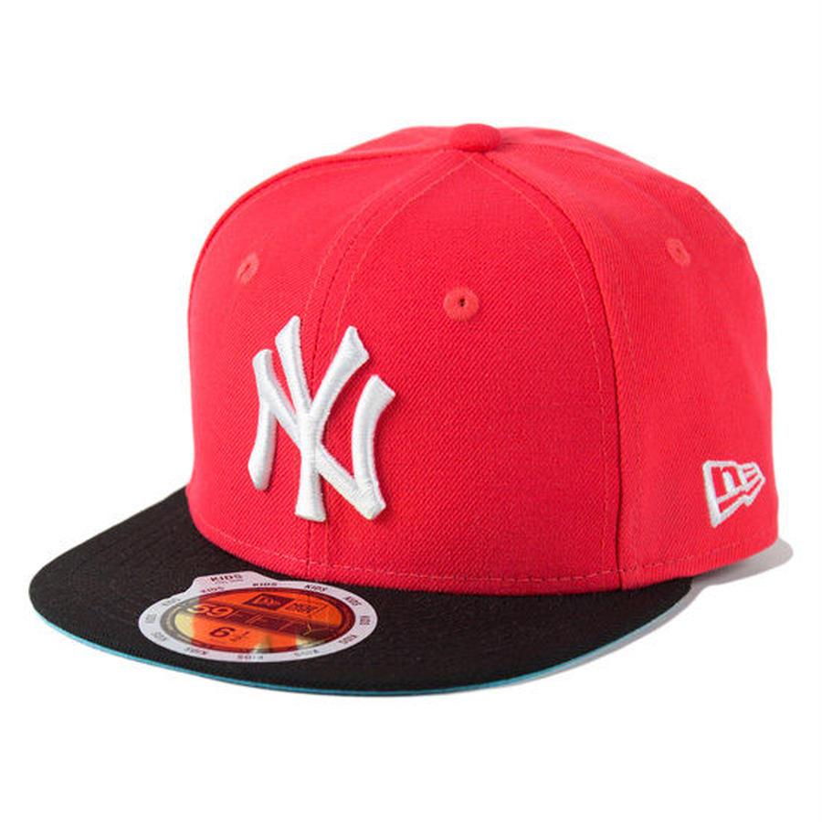 【 NEW ERA / ニューエラ 】KIDS 59FIFTY ニューヨーク・ヤンキース /ラバレッド×ホワイト×ブラックバイザー