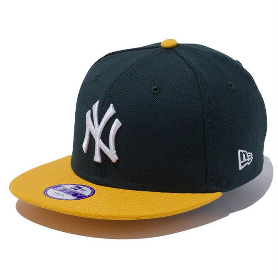 【 NEW ERA KID'S/ ニューエラ キッズ 】9FIFTY ニューヨーク・ヤンキース /ダークグリーン×ホワイト エーゴールドバイザー