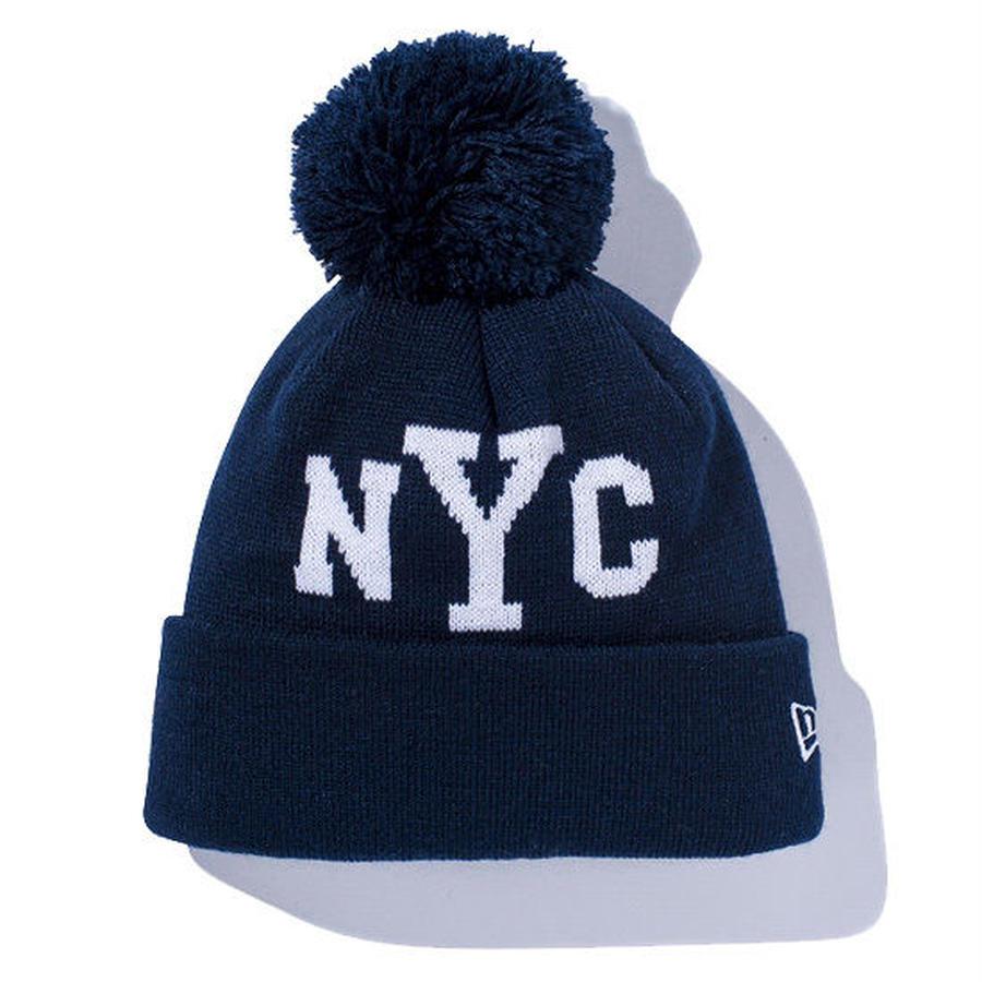 【 NEW ERA KID'S/ ニューエラ キッズ 】Pom-Pon Knit NYC /ネイビー×ホワイト