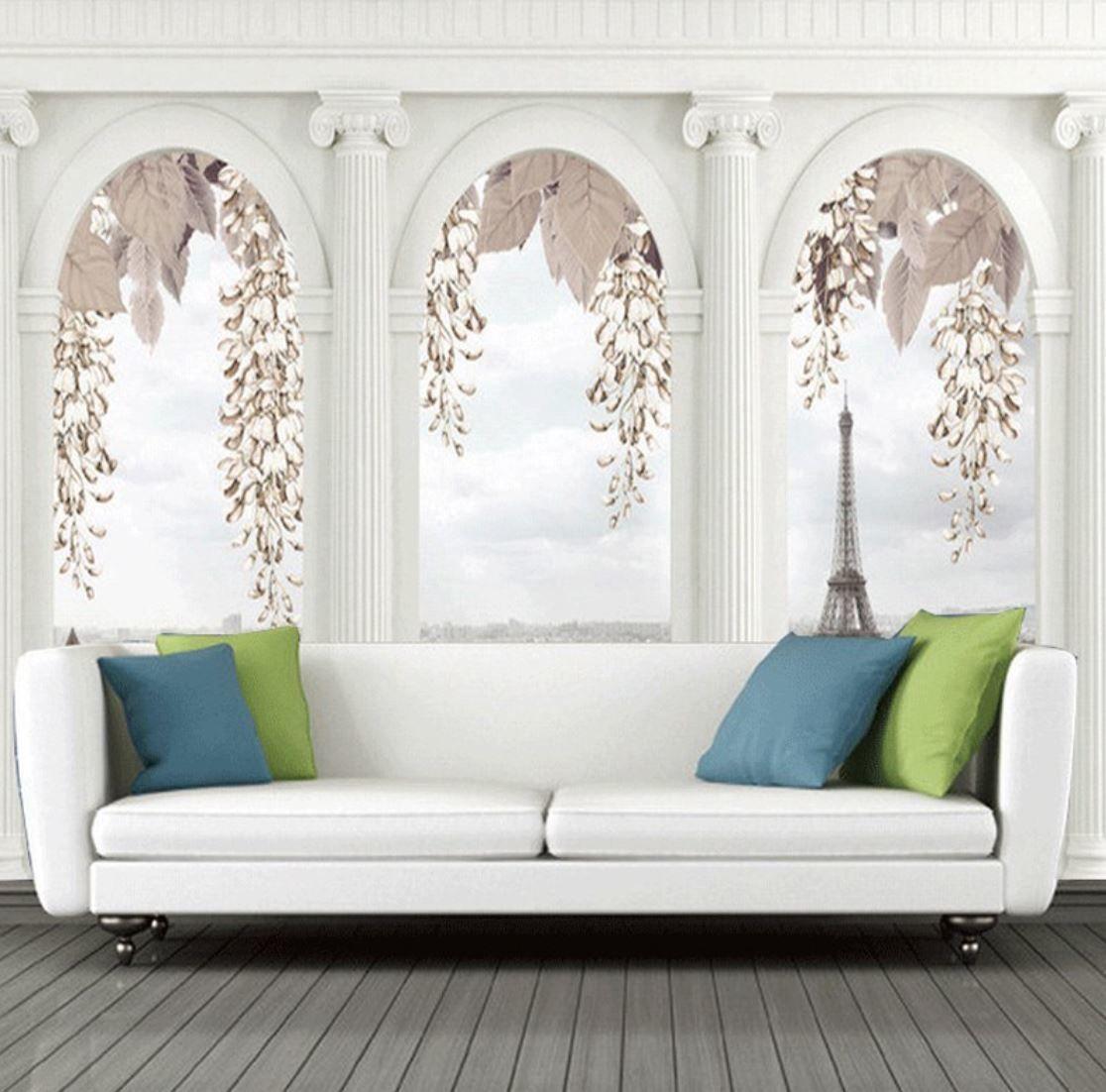 3d 壁紙 1ピース 1 窓からの景色 エッフェル塔 パリの街 インテリア 部屋装飾 耐水