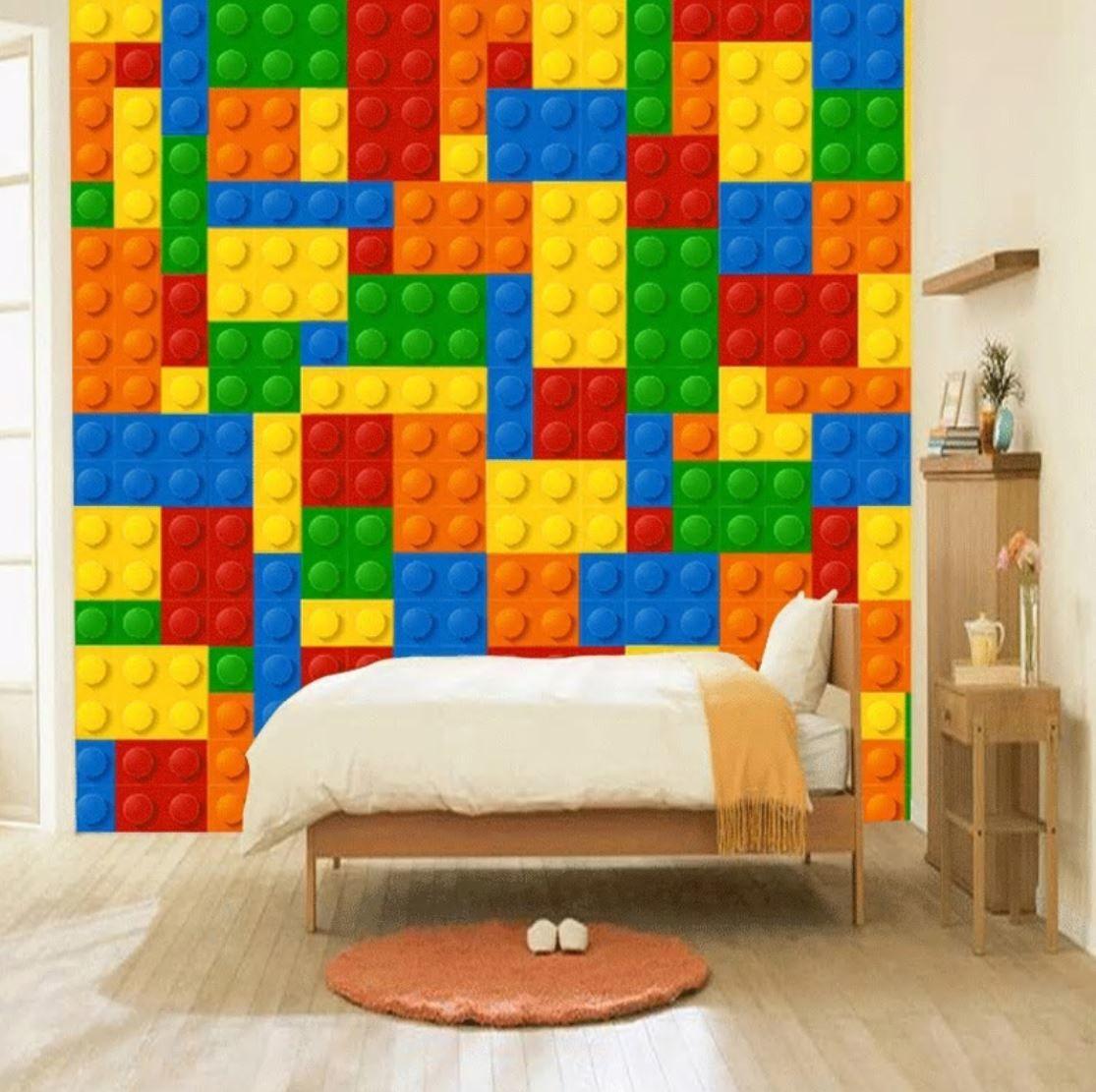 3d 壁紙 1ピース 1 子供部屋 カラフル レゴ おもちゃ インテリア