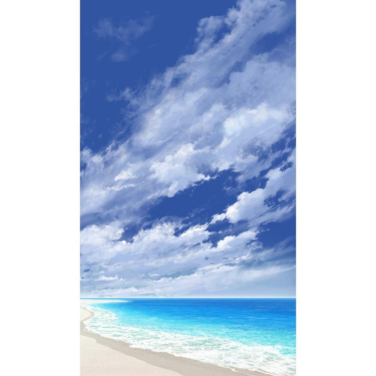 イラスト背景 合作 青空 縦pan用05 海10 彩玉のpsd背景素材shop