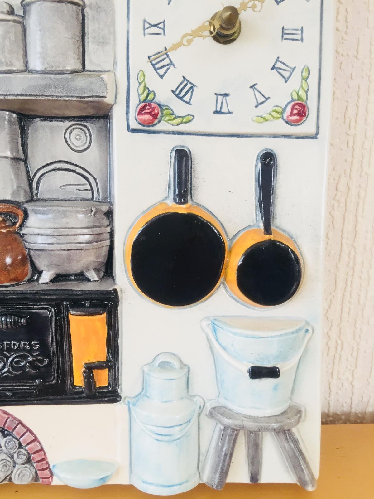 Wasurenagusa            Jie Gantofta/ジィ ガントフタ/陶板/時計/レトロ昔、スウェーデンのキッチンの風景