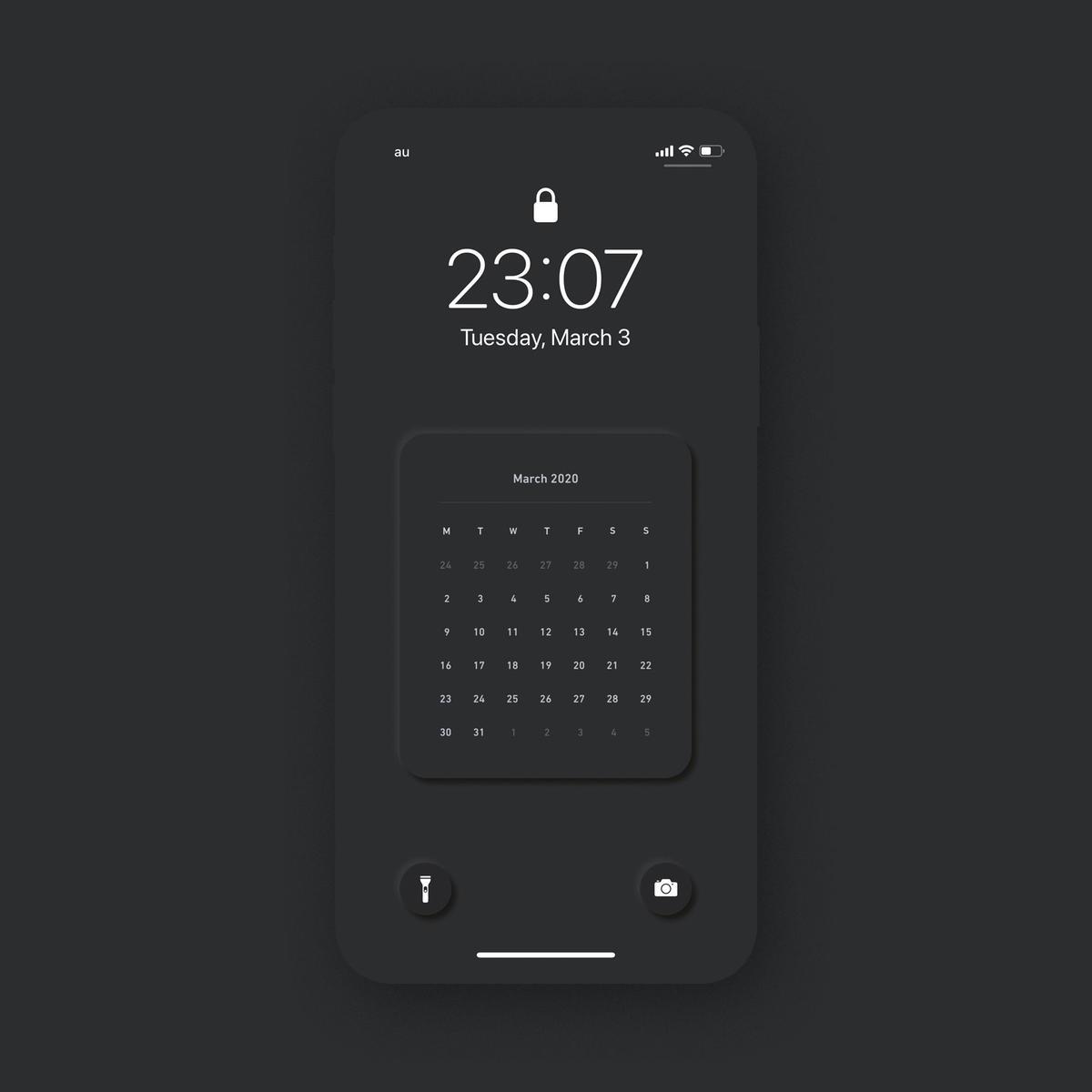 年3月 Iphoneロック画面カレンダー Black Yutolog Store
