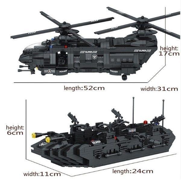 Interesting Items            レゴ互換 swat スワットチーム チーム輸送ヘリコプター 軍事都市警察官 ヘリ ブロック 1351ピース LEGO互換