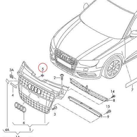 Audi 4K0071805 Schriftzug S6 schwarz//rot Clip Tuning Exclusive K/ühlergrill Black Edition Emblem