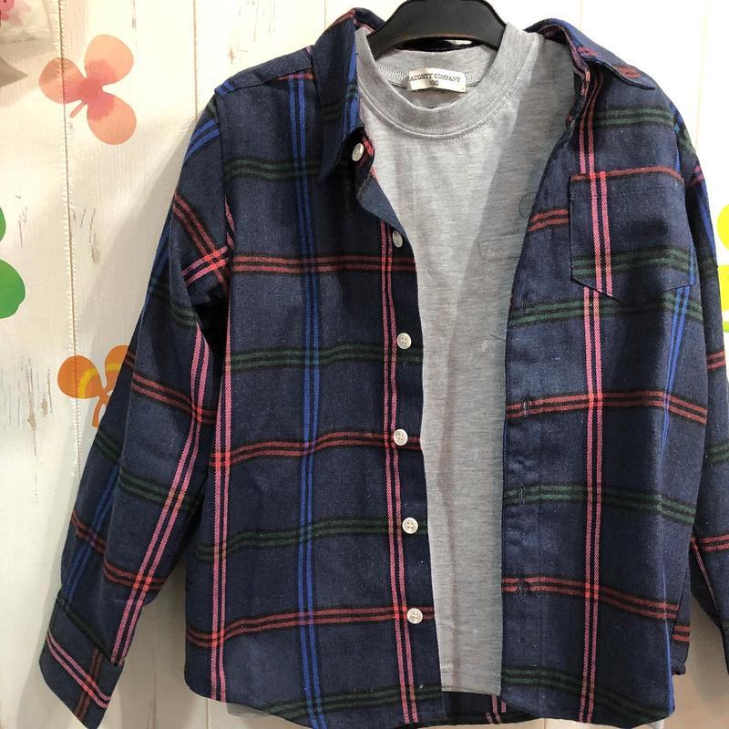 便利な二枚セット◎無地ロンTとチェック柄シャツのセット130.140.150センチ