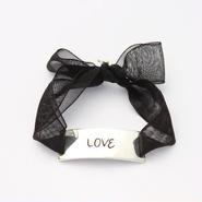 """Charm Bracelet """"Love"""" - Silver - Organdy ribbon"""