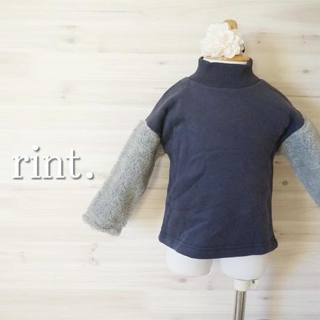 *SALE*ユニセックス*Sewing-B モコモコ袖裏起毛スウェット グレー×チャコール《90~140 》