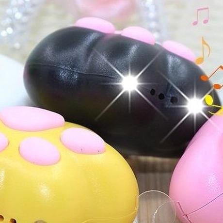 肉球デザイン鳴き声LEDライトキーホルダー