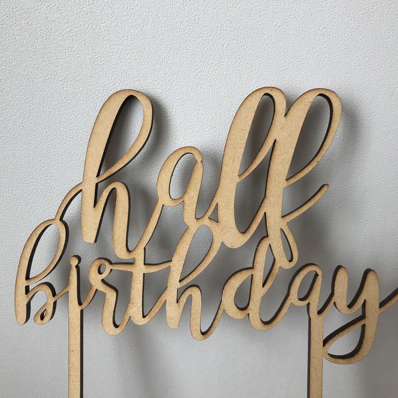 ケーキトッパー Half Birthday merci