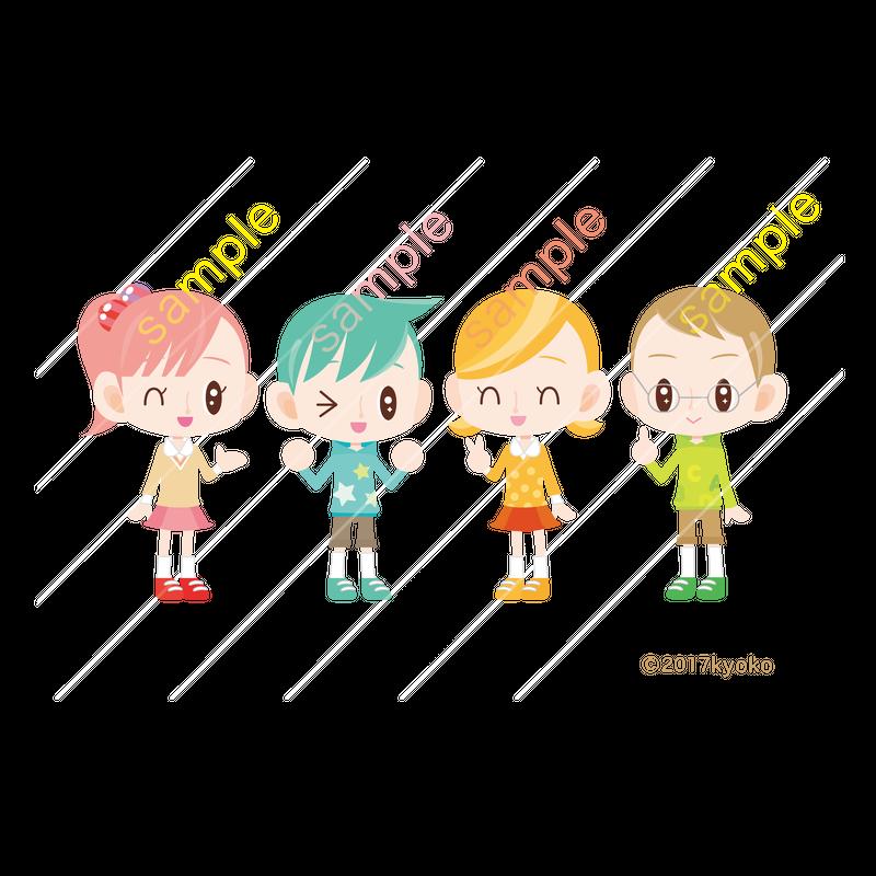 カラフルな子供のキャライラスト 男の子女の子4人組 Character Stock Store