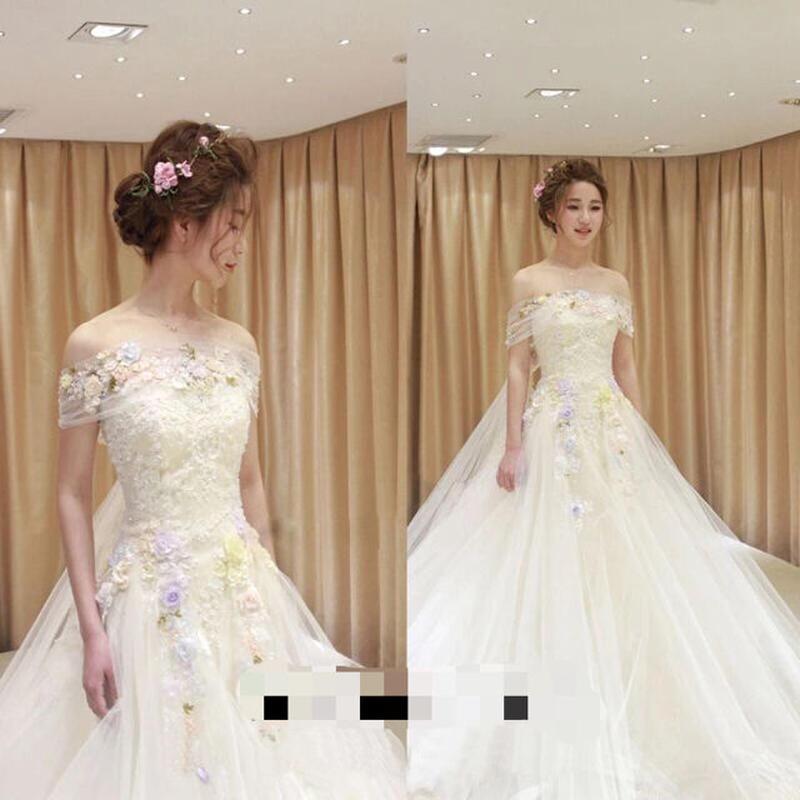 2way長いトレーンウェディングドレス カラー花 ドレスワンピース結婚