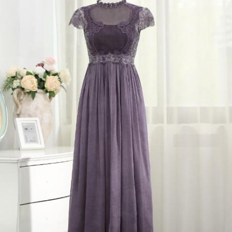 920d466bb3723 パーティードレス 韓国ワンピース 紫 パープル シフォン マキシ ...