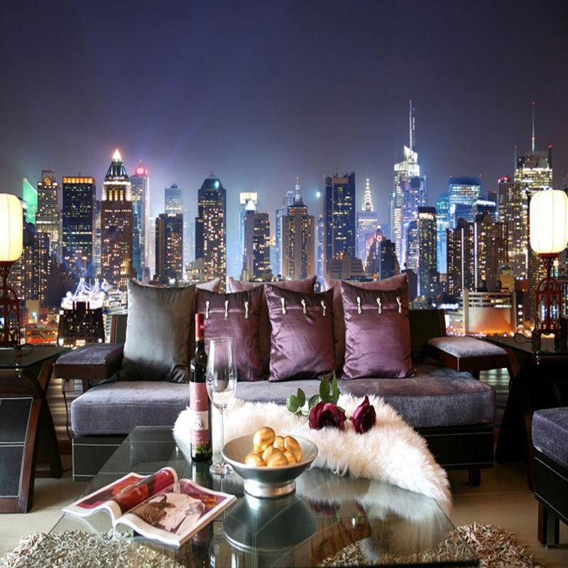 3d ニューヨーク市 夜景壁画 リビングルーム ソファ テレビ 背景 シームレス壁紙 525