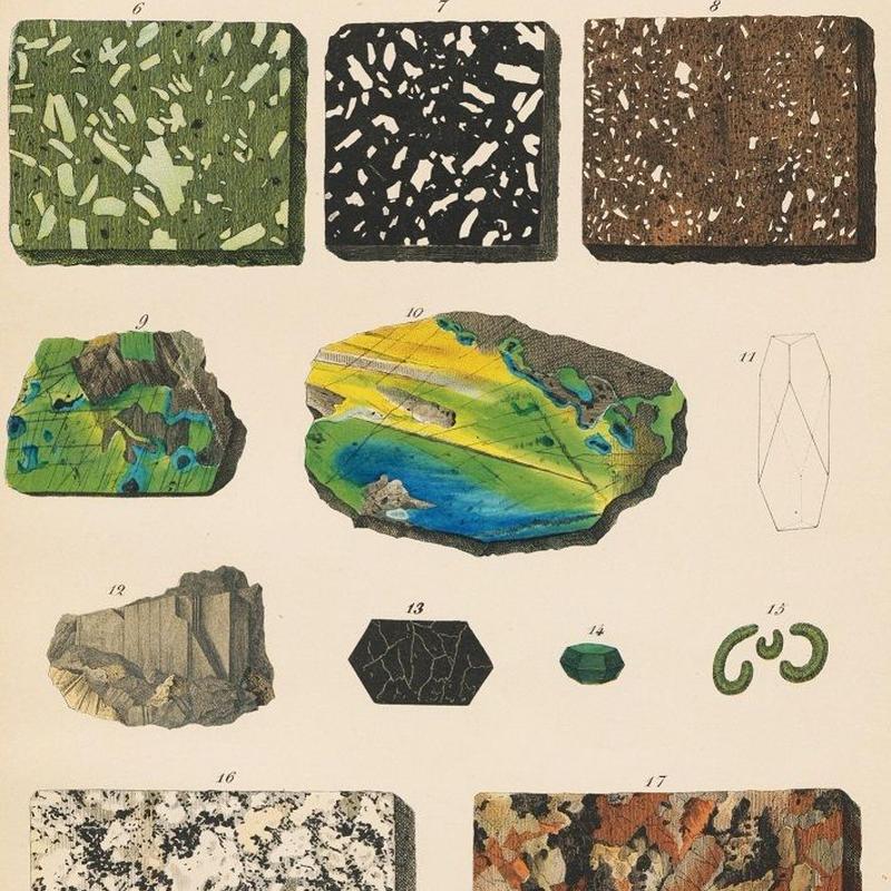 1878年鉱物画③<ドイツ>◇ アンティーク・クロモリトグラフ | Astro ...