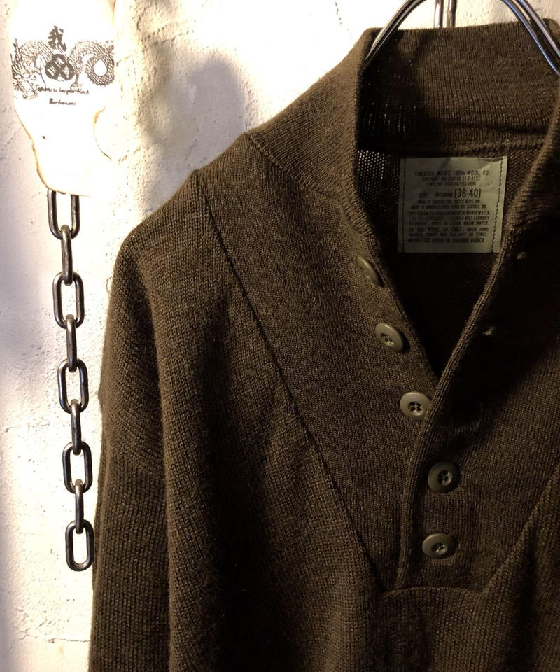 Brown 100/% Wool 5 button fatigue sweater Sz U.S.Military G.I new old stock L.