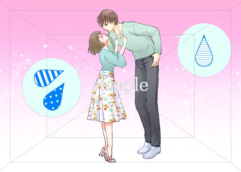身長差カップル キスが大変なカップルのイラスト素材 フォトとイラスト素材のフォトイラ