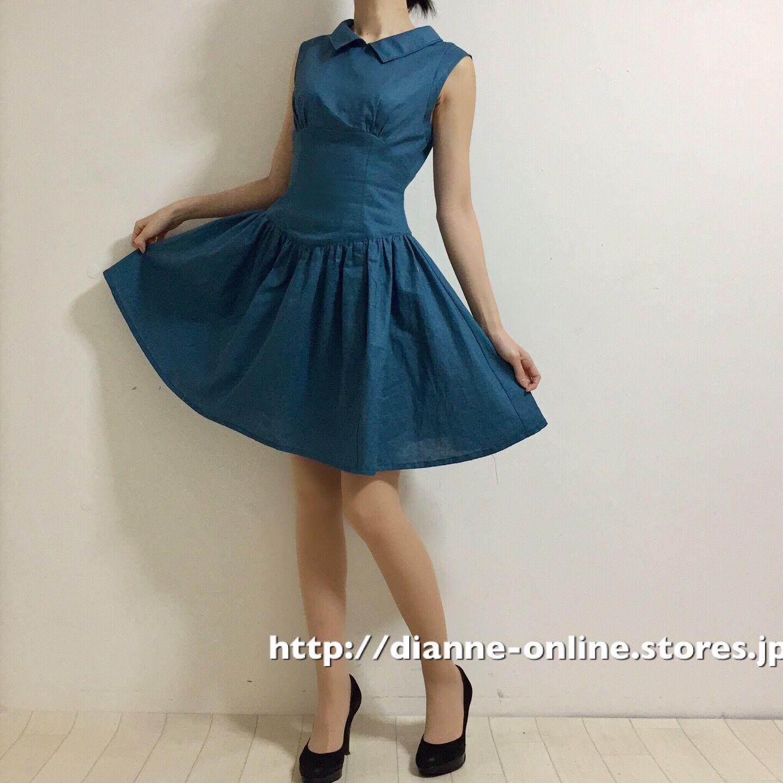 646b8f8b97ea2  SorM 綿麻・コルセット ドレス(ミネラルブルー)