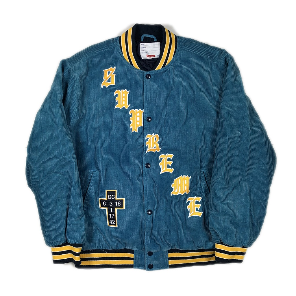 supreme-old-english-corduroy-varsity-jacket-blue-l-18ss