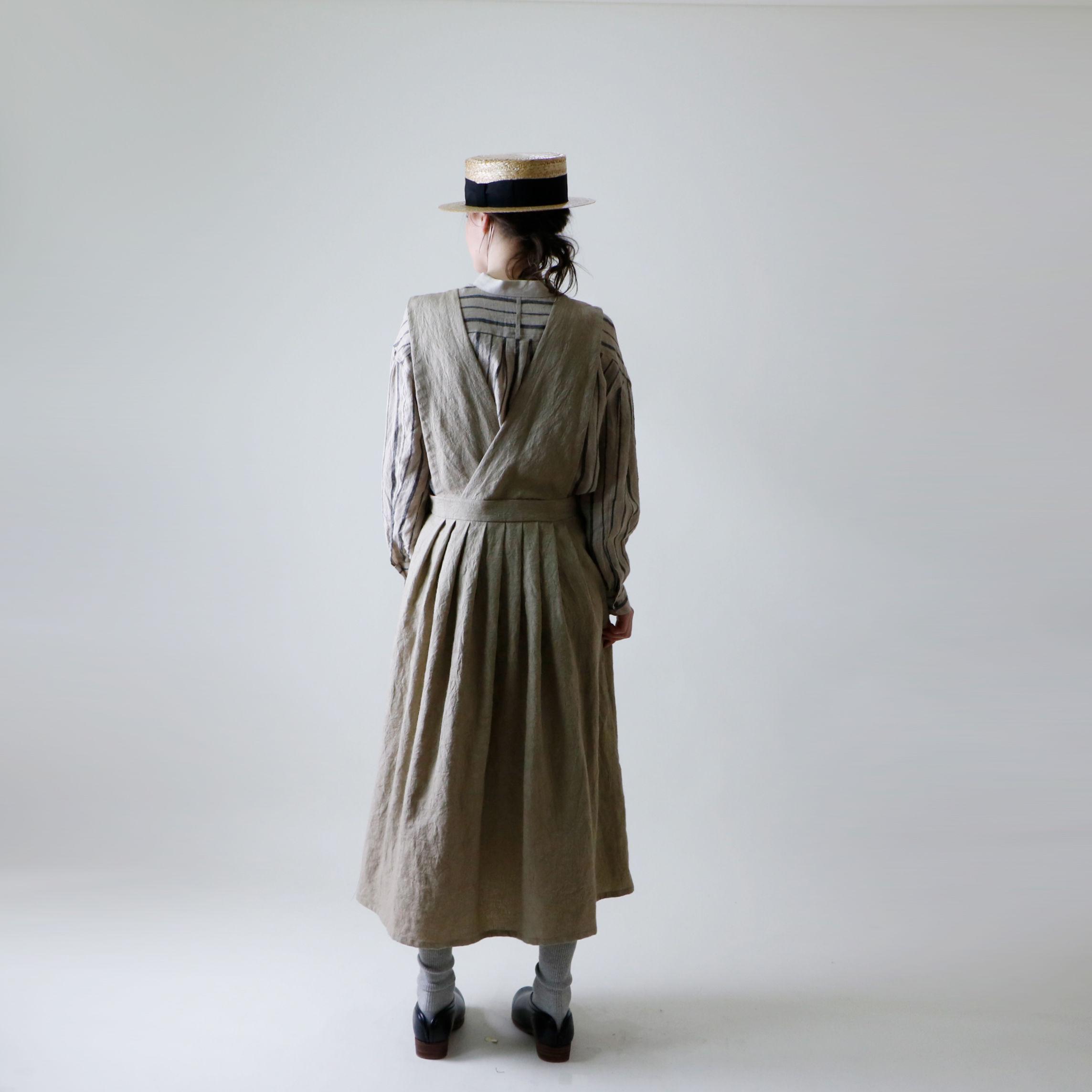 MAGALI            グランジウォッシュ リネン・エプロン・ワンピース/ベージュ
