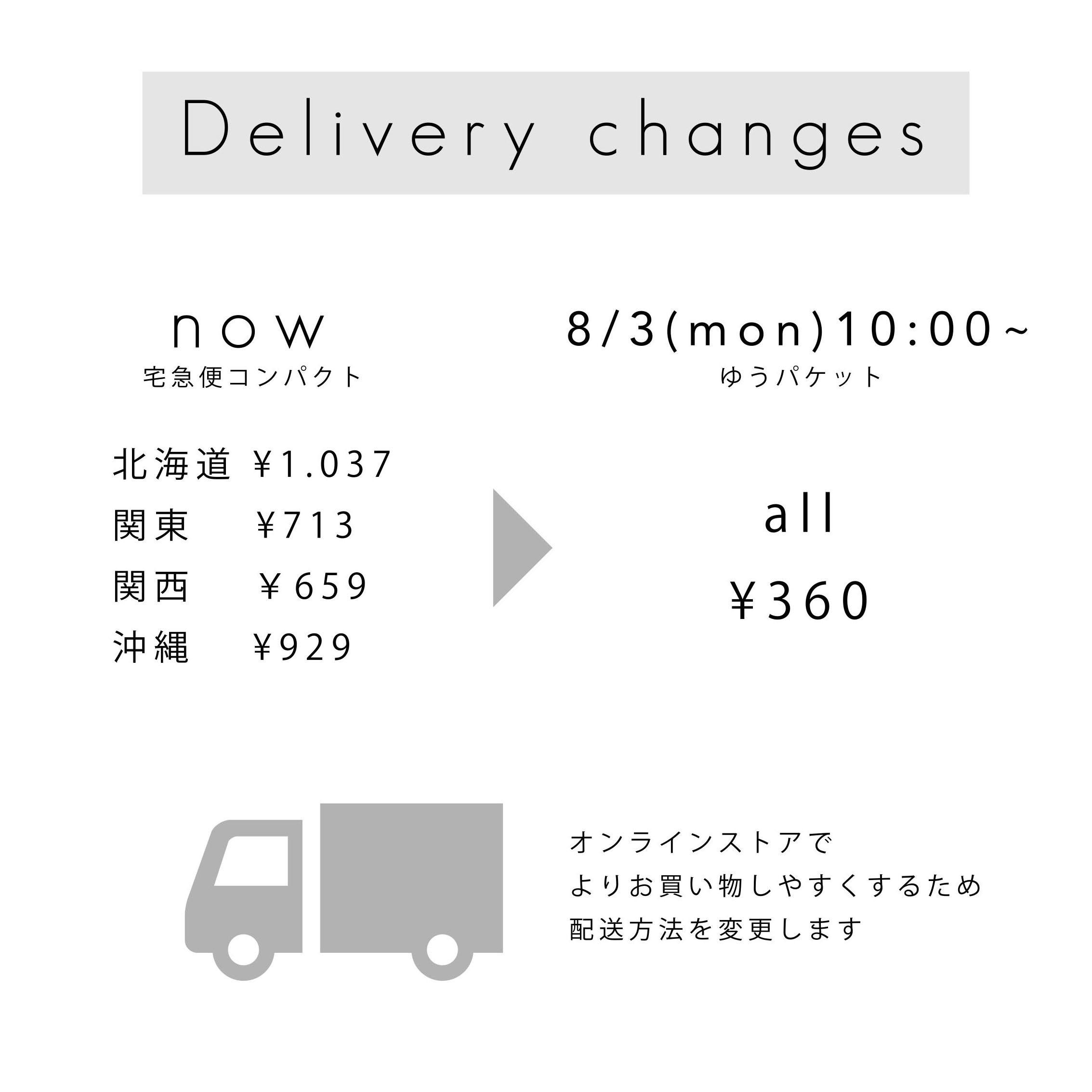 配送方法が変更になります