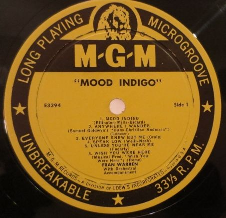 Record Surplus | JAZZレコード専門店               Fran Warren / Mood Indigo (MGM E3394) mono