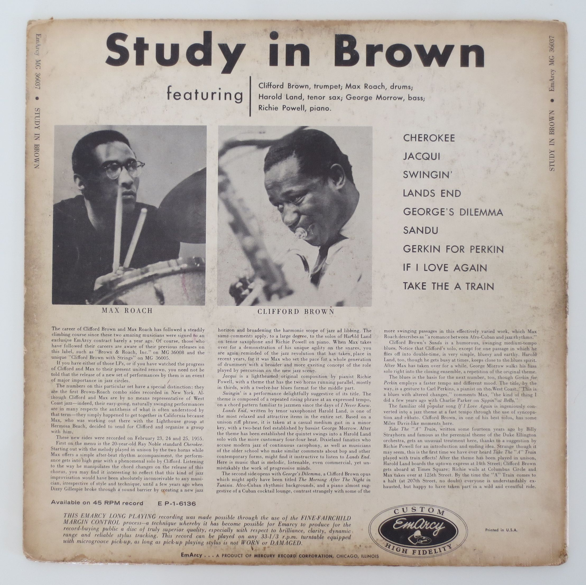 More Study In Brown by Clifford Brown & Max Roach Quintet ...