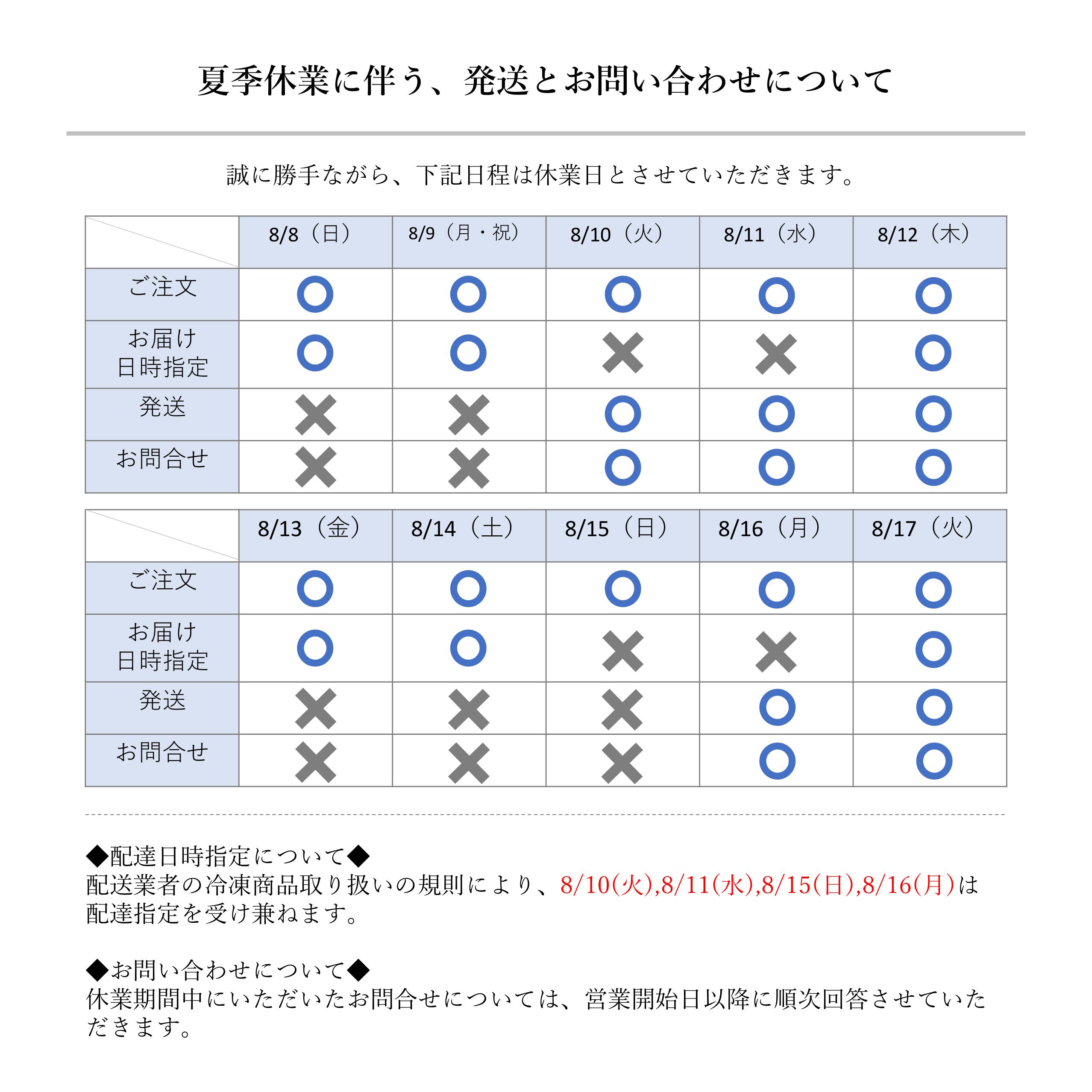 【夏季休業】発送業務のお知らせ